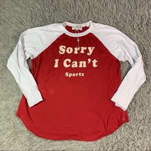 NWT wildfox I cant sports red long sleeve shirt